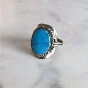 Blue Howlite Gemstone Silver Ring